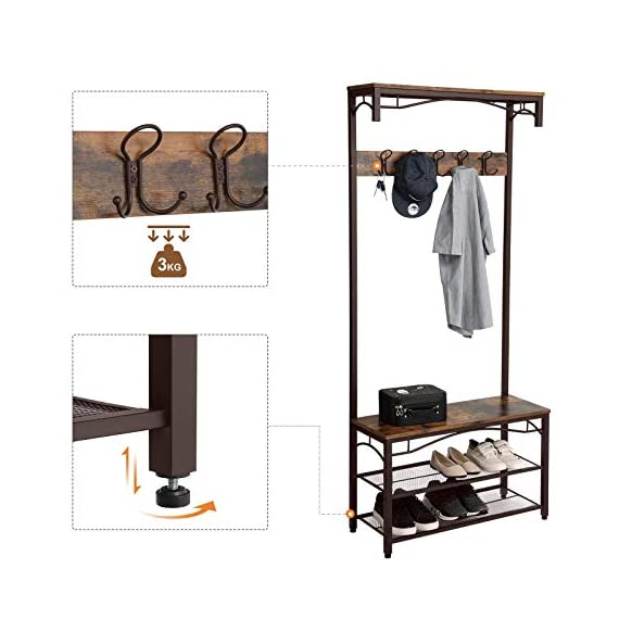 VASAGLE Industrial Coat Rack, 3-in-1 Hall Tree, Entryway Shoe Bench Accent Furniture Metal Frame Large Size UHSR45AX, Rustic Brown (Renewed) - WELCOMES YOU HOME: Eliminate the mess in your hallway with this smart coat shoe rack; perfect balance of clean lines, modern elegance and effortlessly rustic appeal EVERYTHING YOU NEED: After coming back home at the end of the day, just hang your coat, hat and scarves on the top 5 dual hooks, sit on the bench to remove your shoes and put them on the 2 metal mesh storage shelves STABLE AND SAFE: With 4 adjustable feet, the coat rack can stand perfectly stable on carpets or uneven floors; 2 anti-toppling straps are included to ensure safe use - hall-trees, entryway-furniture-decor, entryway-laundry-room - 41Uv3o%2B4MrL. SS570  -