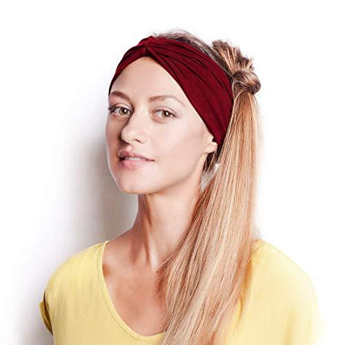 Hemlock Women Headband Sport Yoga Cotton Hairband Knot Turban Head Warp Band Wide Elastic Headband Wine