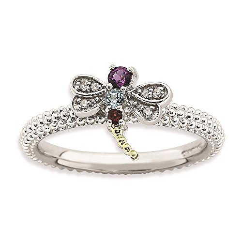 925 Sterling Silver & 14K Gold Accent Multi Gemstone & Diamond Dragonfly Ring by Stackable Expressions Size (14k Multi Gem Ring)