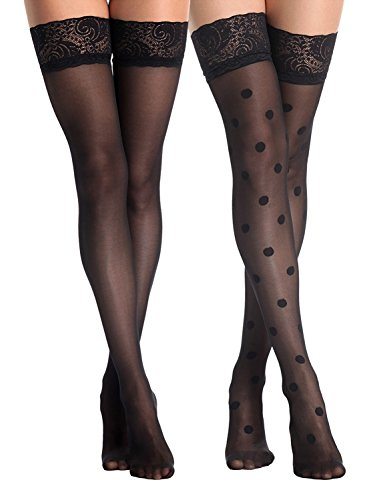 Begirlly Womens Pantyhose Polka Dot Sheer Lace Tights Thigh High Stockings (Lace Thigh High Tights)