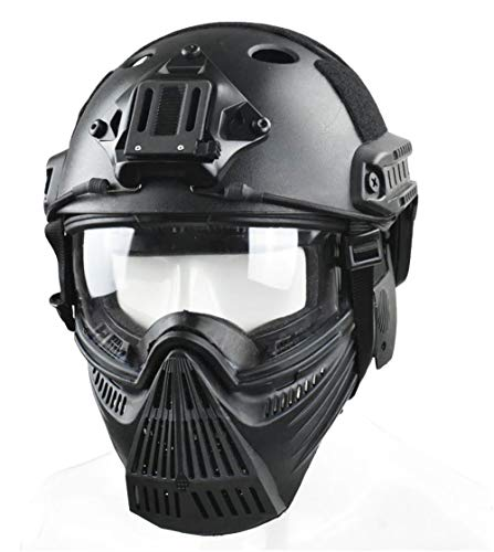 JFFCESTORE Tactical Mask and Fast Helmet,Protective Full Face Anti-Fog Clear Goggle mask Ear Protection Adjustable Strap One Size fits All - Paintball Goggle Strap