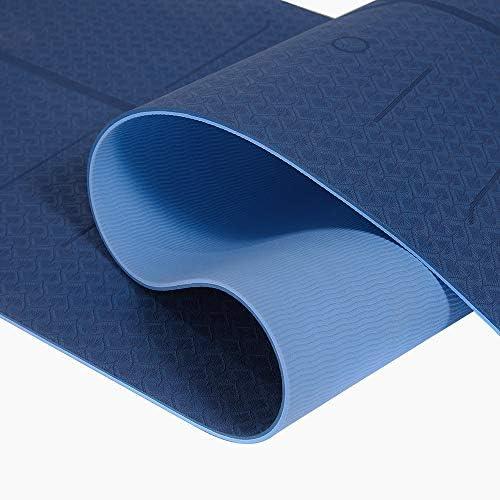 Yoga Mat, Tapete de Yoga, Estera de Yoga, 6mm Eco Friendly Pilates Mat, Colchoneta de Yoga Extra Larga y Ecológica Colchón de Ejercicios Antideslizante Esterilla de Entrenamiento para Pilates y Yoga con un Sistema de Alineación Corporal 8