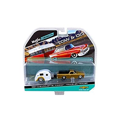 Maisto New 1:64 Tow & GO Collection - Gold 1967 Chevrolet EL Camino and White Traveler Trailer Diecast Model Car: Toys & Games