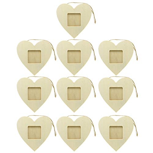 Lzttyee 10PCS Unfinished Wood Mini Photo Frame Handmade Durable Craft DIY Hanging Picture Frame for Home Decoration (Heart)
