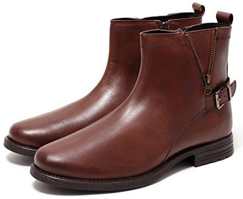 ECHT LEDER Herren Boots Lederstiefel Stiefeletten mit Reißverschluss COGNAC BRAUN Gr.41-44
