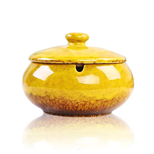 (Lependor Ceramic Ashtray with Lids, Windproof, Cigarette Ashtray for Indoor or Outdoor Use,Ash Holder for Smokers,Desktop Smoking Ash Tray for Home Office Decoration - Yellow)