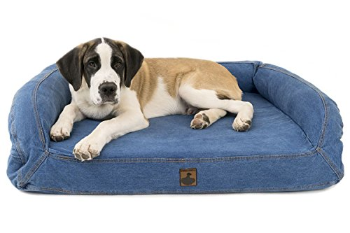 K9 Ballistics Bolstered Denim Orthopedic Memory Foam Bolstered Dog Bed with Waterproof Liner