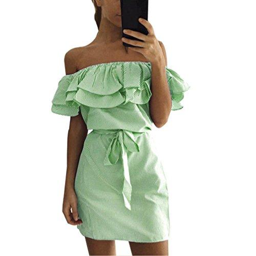 Vestido Amlaiworld Mujeres de hombro vestido de volantes de rayas con cinturón Verde