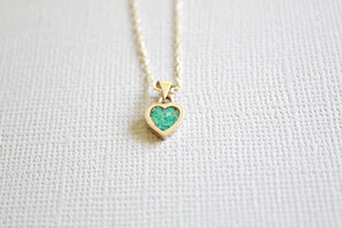 Turquoise Heart-Shaped Mosaic Sterling Silver Necklace 16.1'' to 17.7 inches, Adjustable Chain, Semi Precious Stone -