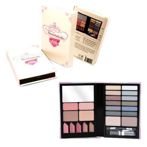 Makeup Beauty Kit - Comes with Eyeshadow Palette in 14 Different Colors - 5 Lip Gloss - Lip Stick Lip Brush - 2 Rosy Blush Colors with Soft Brush for easy Application - 2 sided Eyeshadow Applicators - 2 Tanned Bronzers - 1 Mirror - This Travel Case is Sma