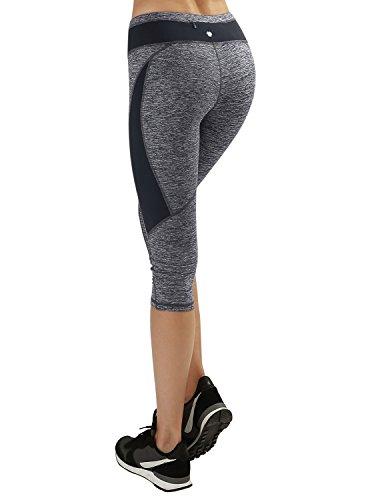 Yogareflex - Women's Fold Over Yoga Capri Pants - Fitness Workout Capris , NavyHeather , Small