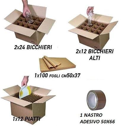 SIMBA Kit Cajas Mudanza Cocina Color 1 Caja 12 Platos + 2 Cajas x 24 Vasos