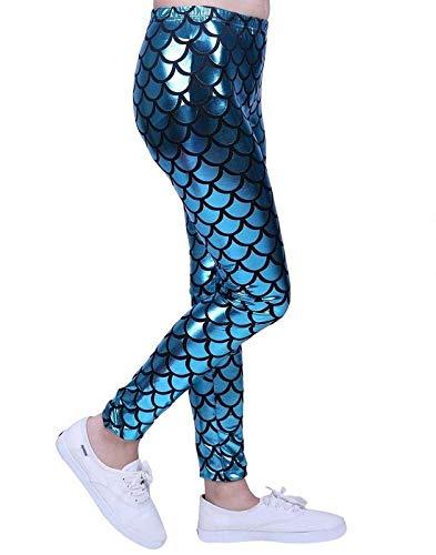 Kids Unisex Girls Boys Mermaid Metallic Fish Scale Stretch Disco Party Party Leggings Age 5-13