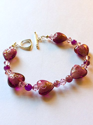 Plum Pink Murano Heart Beaded Bracelet For Your (Amethyst Murano Bracelets)