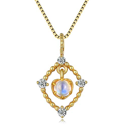 J.Memi's Natural Moonstone Necklace 925 Sterling Silver Romantic Love Jewelry Plated with 14K Gold Design Pendant Handmade Gift for Anniversary,A