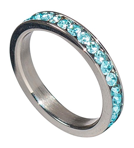 - Birthstone Eternity Ring~March~Stainless Steel~Cubic Zirconia CZ Band~Aquamarine~Light Blue Crystals~Stackable~Mother's Ring~Children's Ring~Women's Jewelry (11)