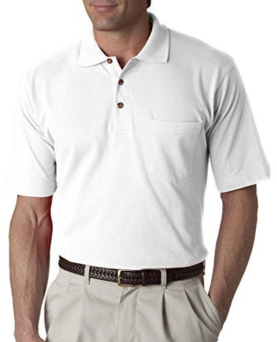 UltraClub Men's Classic Pique Polo Shirt with Pocket,  Large - White