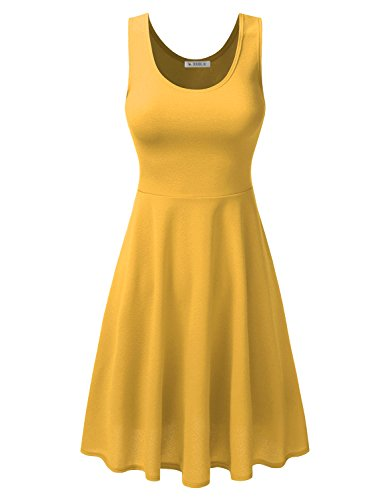 Flared amp; CLOVERY Printed Solid mustard Skater Clawdsd0754 Dress Sleeveless Floral xq44Xf51w