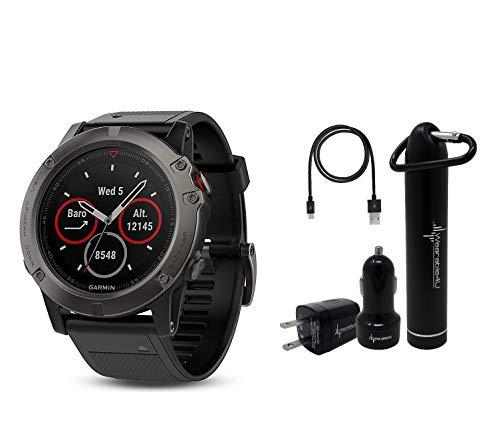 Garmin Fenix 5X Sapphire Multisport GPS Watch with Preloaded Topo Maps and Wearable4U Ultimate Power Bundle