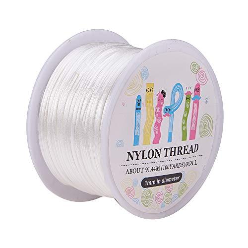 - Pandahall 1 Roll 1mm x 100yards White Rattail Satin Nylon Trim Cord Chinese Knot