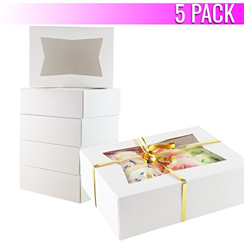 Chefible Durable Pastry and Cookie Box With Window, 8.5x5.3x