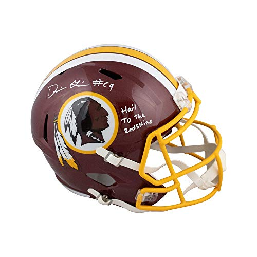 Derrius Guice Hail to the Redskins Autographed Redskins Full-Size Helmet BAS COA