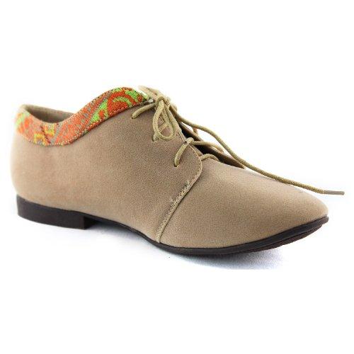 El Holgazán De Oxford Para Mujer Ata Para Arriba El Color Plano Mulit Cómodo Zapatos De Moda Diario Nude Sv