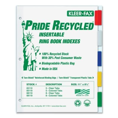 Kleer-Fax Pride Series 5-Tab Insertable Index 11905