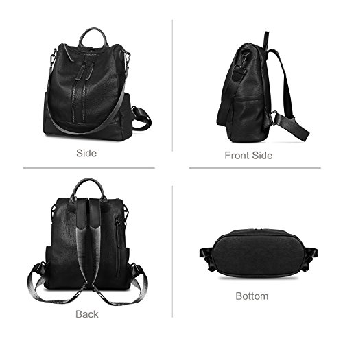 Ladies Leather with Fashion Backpack Hole for Girls Convertible ZZSY Bag Shoulder Casual Backpack Women Black2 Earphone qYdtzq