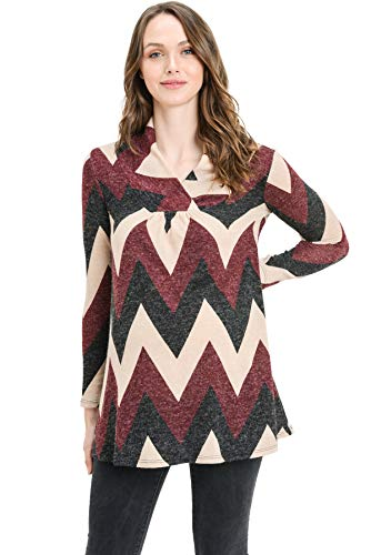 Hello MIZ Women's Sweater Knit Maternity Long Sleeve Chevron Tunic Top (Burgundy/Black Zigzag, M) by Hello MIZ