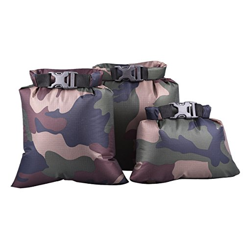 OULII Waterproof Dry Bag Storage Pouch Bag for Camping Boating Kayaking Rafting Fishing 3pcs 1.5L+2.5L+3.5L(Camouflage)