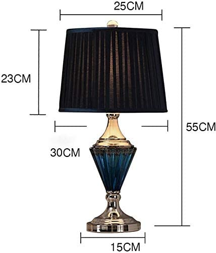 QIURUIXIANG- bedside lamp, Nordic Blue Glass Table Lamp Bedroom Bedside Lamp Creative Modern Mediterranean Living Room Table Lamp Europeum Hotel QI-304