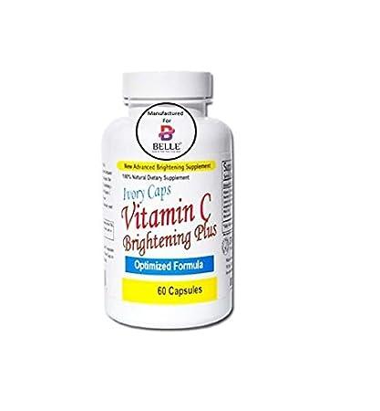 Ivory Caps vitamina C brillo de la piel y la piel blanqueamiento rayo píldoras 100%