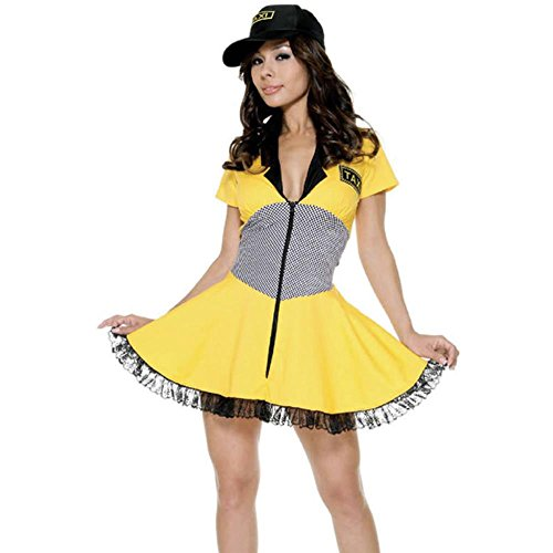 Ladies Taxi Driver Costume (Size:Medium/Large (Yellow Taxi Costume)
