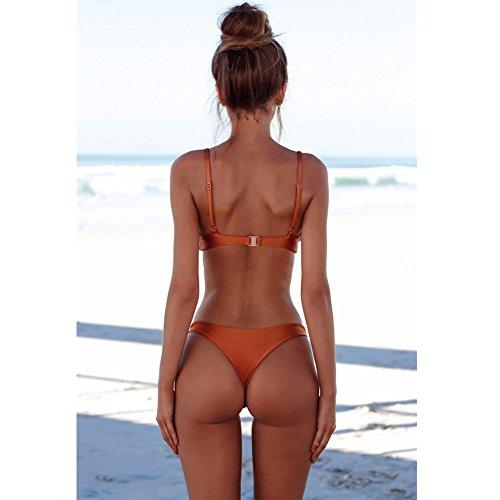 Bagno Brown Imbottita Romacci Foglie Spiaggia Donne Per Corda Swimwear Dello Bikini Costume Da Stampa Reggiseno 6wqTt6vA