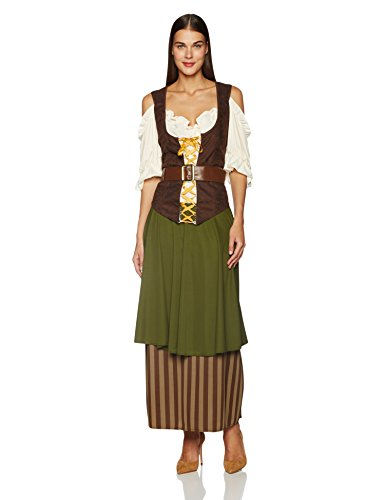 California Costumes Plus Size Tavern Maiden Costume, Olive/brown, 1XL (16-18) (Renaissance Halloween Costume)