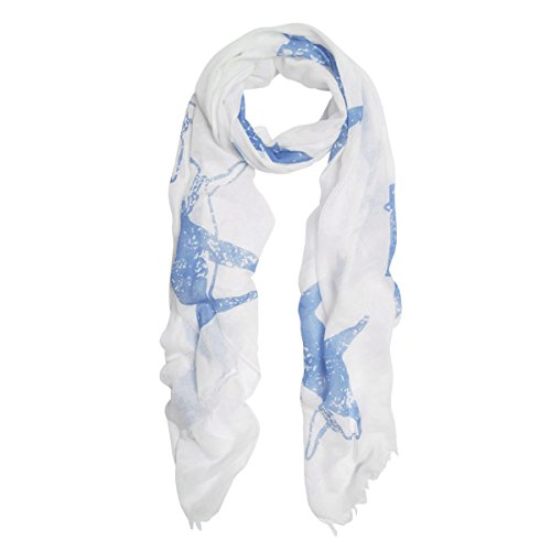 Unique Sharks Animal Print Frayed End Scarf Wrap, Off White