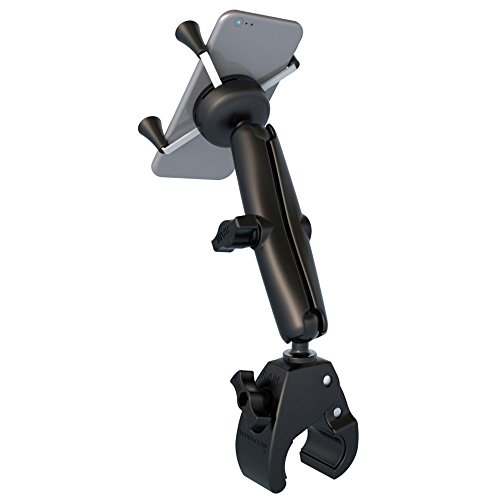 (RAM MOUNTS (RAM-B-400-C-UN7U Small Tough-Claw Base with Long Double Socket Arm and Universal X-Grip Cell/iPhone Holder)