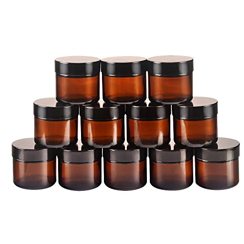 12 pack 2oz 2 oz Amber Glass Round Jars with White Inner Liners and black Lids.Glass Jars Prefect for Cosmetics and Face cream Lotion. ()