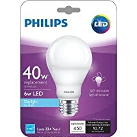 Philips 40W Equivalent Daylight (5000K) A19 Dimmable 455782 LED Light Bulb