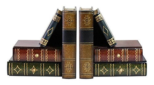 Classic Book-Alike Decorative Bookends - 4 Drawers Set