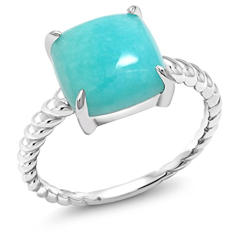Gem Stone King 925 Sterling Silver Square Cabochon Sleeping Beauty Green Turquoise Women's Ring (Size 7)