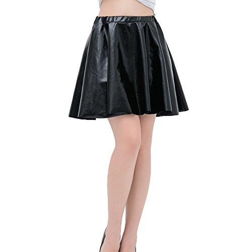 plisse pour femmes Mini Metallic Jupes Shiny jupe Mxssi haute Dancewear Noir Taille wHfq6tq