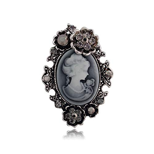 Cameo Pin Jewelry Brooch - JJTZX Victorian Black Velvet Lace Cameo Choker Gothic Lady Cameo Necklace&Brooch Pin Gift for Her (Cameo Brooch 5)