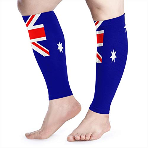 TUHUO Calf Leg Compression Sleeve for Men Flag of Australia Running Circulation Wide Tube Sleeves UV Protection Arm Black