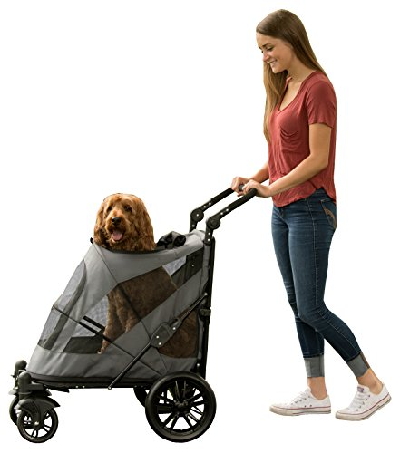 Pet Gear NO-Zip Stroller, Push Button Zipperless Dual Entry, for Single or Multiple Dogs/Cats, Pet Can Easily Walk in/Out, No Need to Lift Pet ()