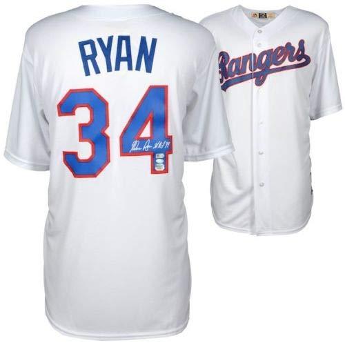 "NOLAN RYAN Autographed Texas Rangers""HOF 99"" Majestic Jersey FANATICS"