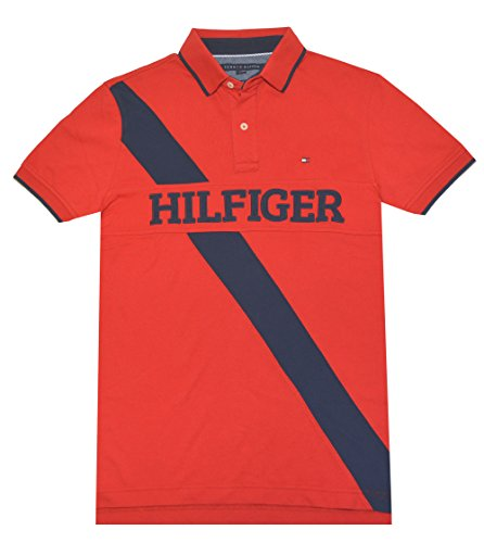 Tommy Hilfiger Men Custom Fit Pieced Polo Shirt (L, Red/navy)