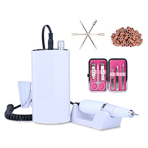 Rechargeable Nail Drill Machine Cordless Portable Manicure Set (White)