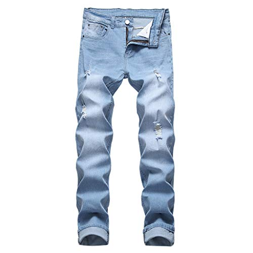 NUWFOR Men's Stretchy Ripped Skinny Biker Jeans Destroyed Taped Slim Fit Denim Pants(Sky Blue,US:28/AS:28 Waist:28.3